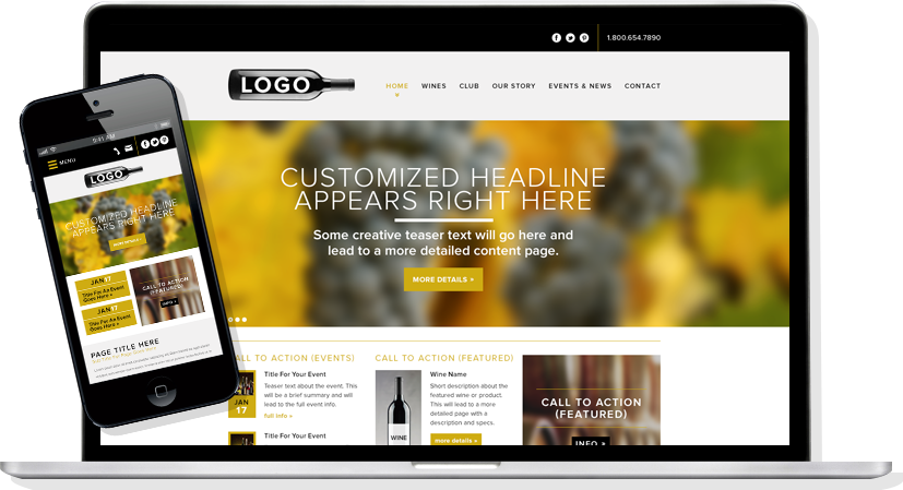 Clever winery websites winery website templates pronofoot35fo Gallery